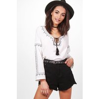 Embroidered Woven Top - ivory
