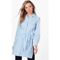 Tie Waist Shirt - pale blue