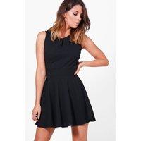 Notch Neck Woven Skater Dress - black
