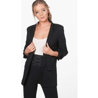 Ruched Sleeve Blazer - black
