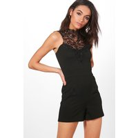 High Neck Crochet Trim Playsuit - black