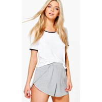 Wrap Over Jersey Shorts - grey marl