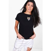Embroidered Tiger Tee - black