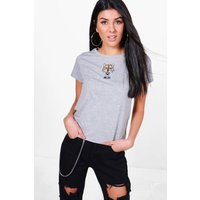 Embroidered Tiger Tee - grey