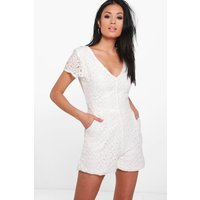 V Neck All Over Lace Playsuit - white