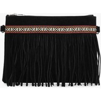 Aztec & Fringe Cross Body Bag - black