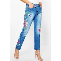Mid Rise All Over Embroidered Boyfriend Jeans - mid blue