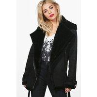 Faux Fur Lined Bonded Aviator Jacket - black