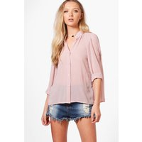 Button Through Pleated Back Blouse - nude