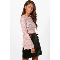 Lace Bell Sleeve Crop - nude