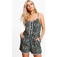 Printed Strappy Playsuit - multi