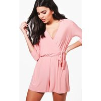 Skinny Wrap Over Tie Waist Playsuit - coral