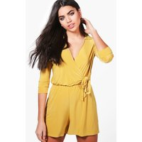 Skinny Wrap Over Tie Waist Playsuit - honeydew