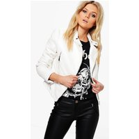 Quilted Sleeve Faux Leather Biker Jacket - white
