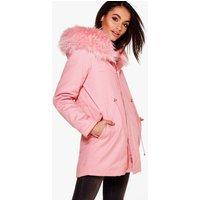 Boutique Faux Fur Hood Parka - rose