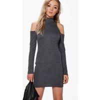 High Neck Cut Shoulder Swing Dress - grey