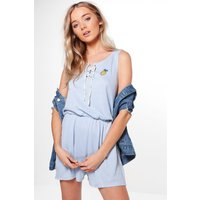 Pineapple Embroidered Casual Playsuit - blue