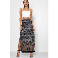 Border Print Woven Maxi Skirt - multi