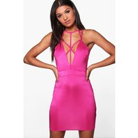 Strap Detail Bodycon Dress - lipstick