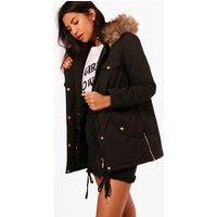 Parka With Faux Fur Hood - black