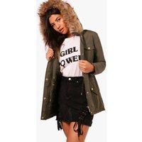Parka With Faux Fur Hood - khaki