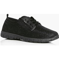Glitter Jersey Lace Up Trainer - black