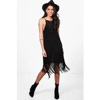 Strappy Fringed Slip Dress - black