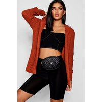 Soft Knit Hooded Cardigan - rust