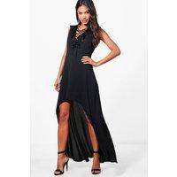 Lace Up Ruffle High Low Maxi Dress - black