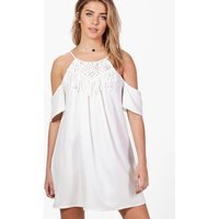 Crochet Trim Cold Shoulder Flute Swing Dress - ivory