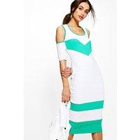 Cold Shoulder Bodycon Dress - white