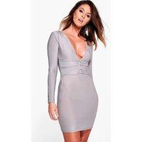 Waist Detail Bodycon Dress - silver