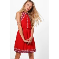 Frey Georgette Embroidered Dress - red