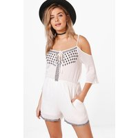 Embroiderd Open Shoulder Playsuit - ivory
