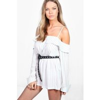 Off The Shoylder Striped Woven Playsuit - navy