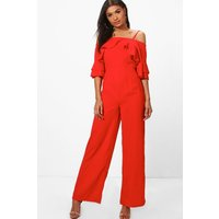 Cold Shoulder Ruffle Sleeve Jumpsuit - tomato