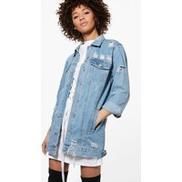 boohoo Long Line Distressed Boyfriend Jacket - blue