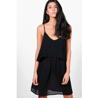 Open Shoulder Skater Dress - black
