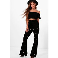 Lace Up Embroidered Front Skinny Flares - black