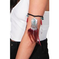 Feather Statement Arm Cuff - black