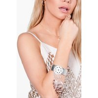 Feather Embellished Arm Cuff - silver