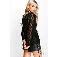 Ava All Over Lace Tie Back Top - black