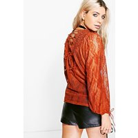 Ava All Over Lace Tie Back Top - rust