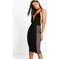 Sports Mesh Panelled Midi Skirt - black