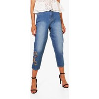 Embroidered Mom Jeans - blue