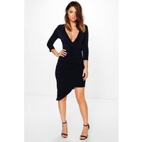 Wrap Front Dress - navy