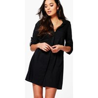 Cotton Shirt Dress With Pockets - black