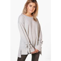 Tie Sleeve Soft Marl Jumper - grey