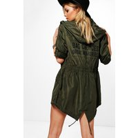 Hooded Mac With Choices Print - khaki