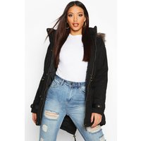Parka With Faux Fur Trim Hood - black